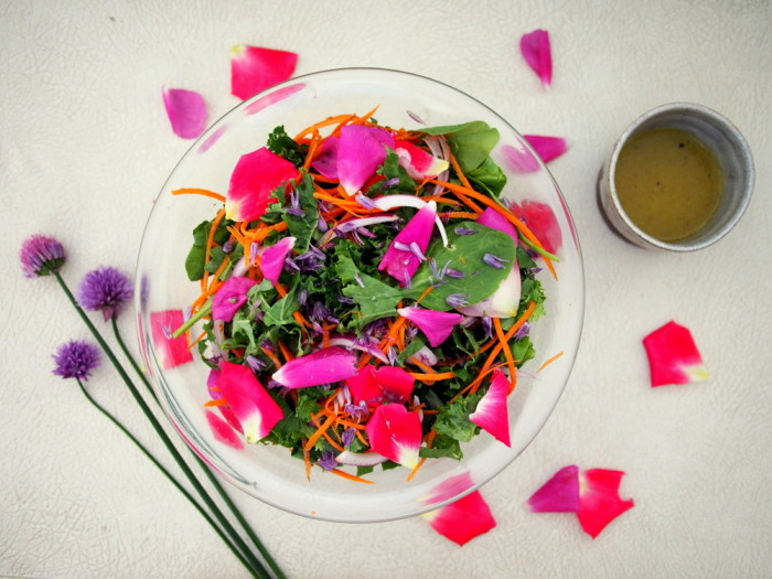 A deliciously light, but nutrient rich rose and kale salad recipe.