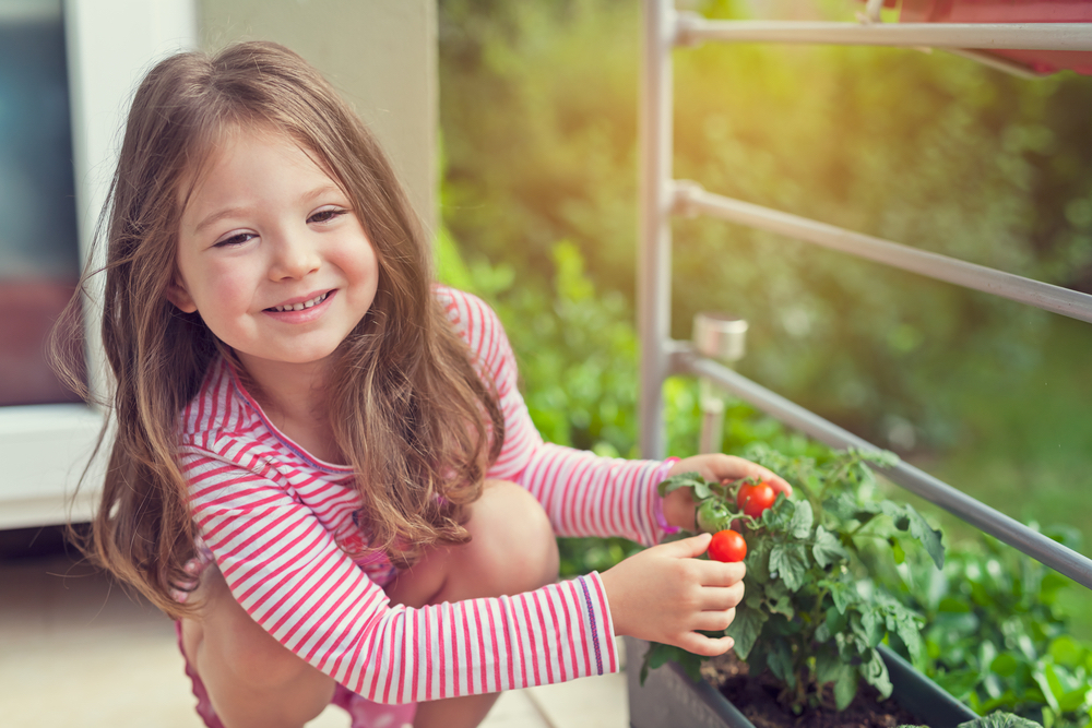 Children in the Garden: children love gardening and seeing things grow. Include them in the gardening fun and they'll become fans for life. #CherryTomatoes #GrowingTomatoesInPots #GrapeTomatoes