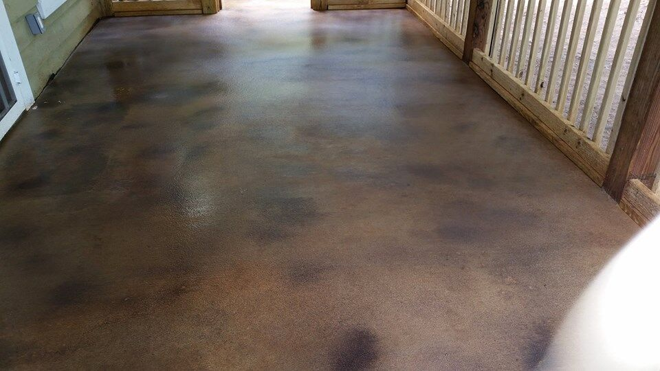 """We committed to one major and one minor project a year."" The painted concrete floor of Kathie and Joe's screen porch project."
