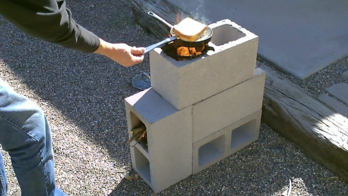 cinder block rocket stove, concrete mass stove
