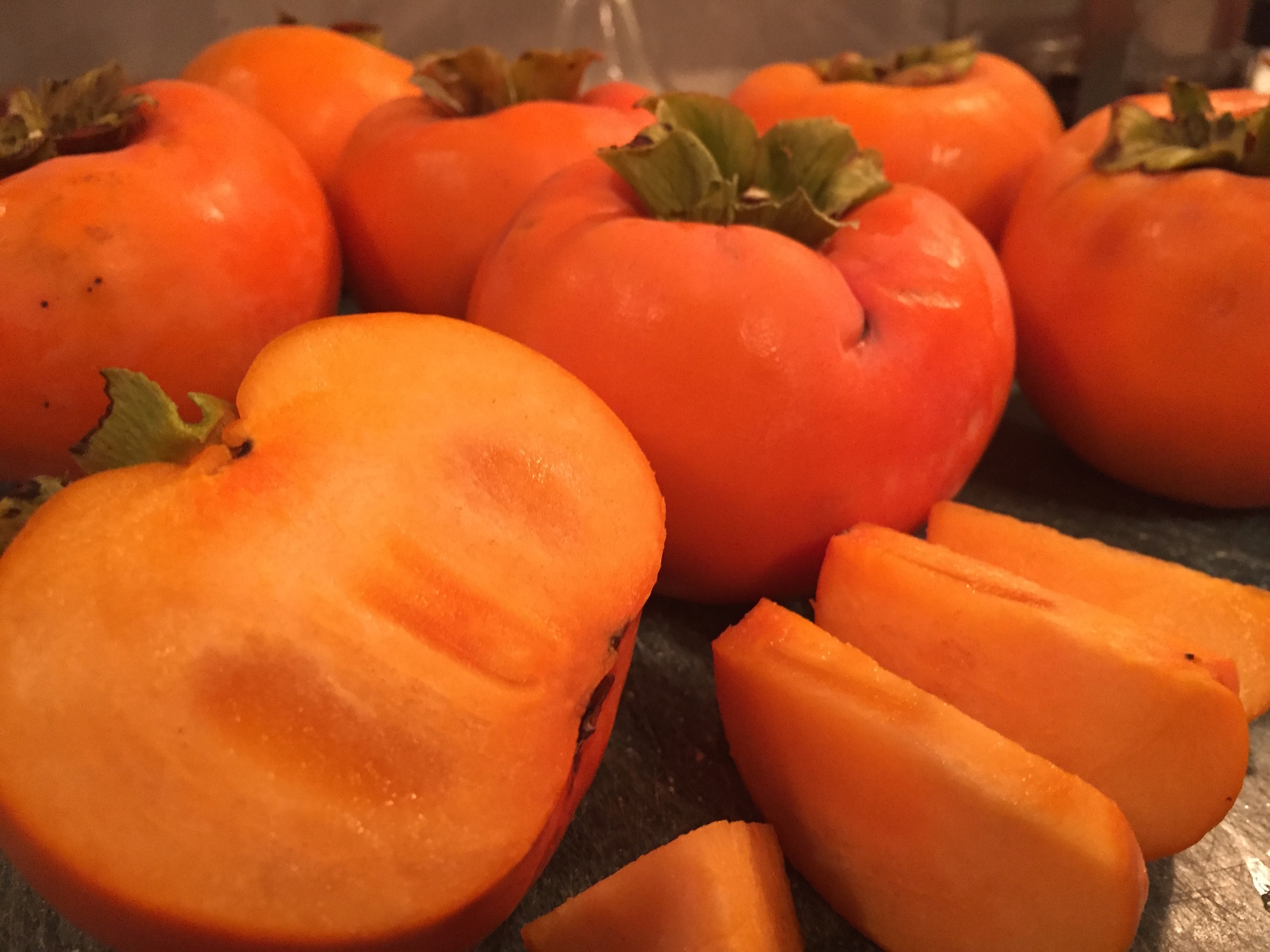 Fuyu persimmons ready to eat