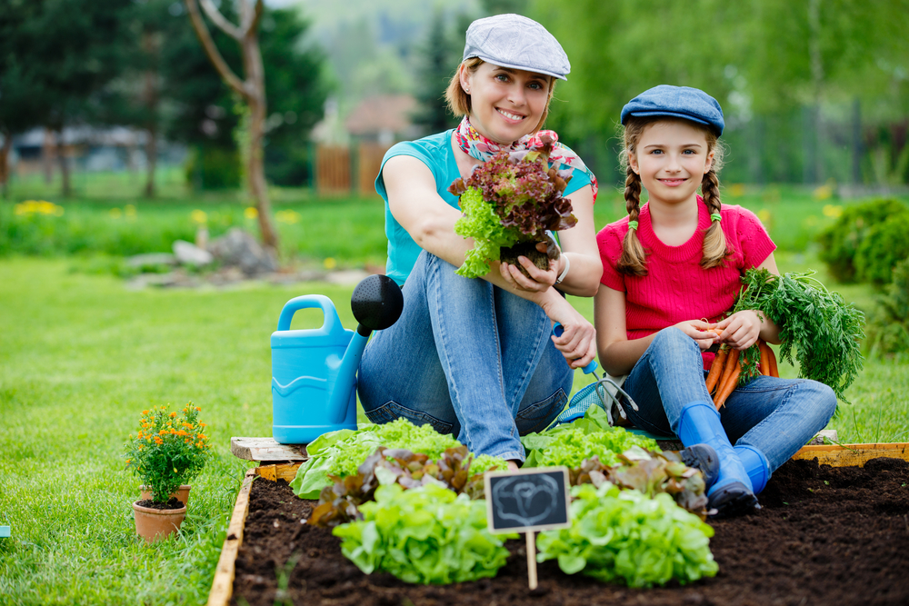 mother-daughter gardening, kids in the garden, gardening for children