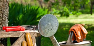 Favorite garden tools at the ready