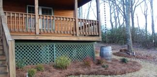 cabin rainchain, rain barrel