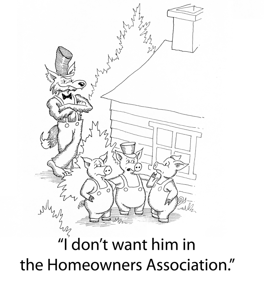 HOA comic - three little pigs and the big bad wolf. #HOAmeme #HOAcomic3pigswolf #RestrictedNeighborhoods #HOAgardeningRules