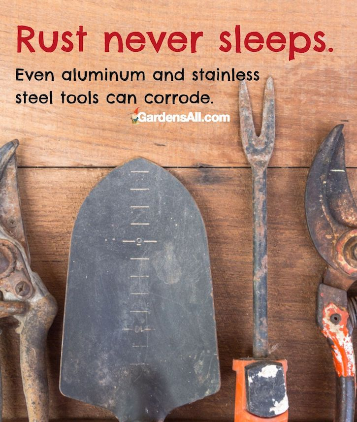 How to Clean Rusty Tools - because rust never sleeps. Your garden tools will last for many years with just a little care. GardensAll.com #HowToCleanRustyTools #RustPrevention #CleanTools #GardenTools #GardenToolCare #GardensAll #LowMaintenance