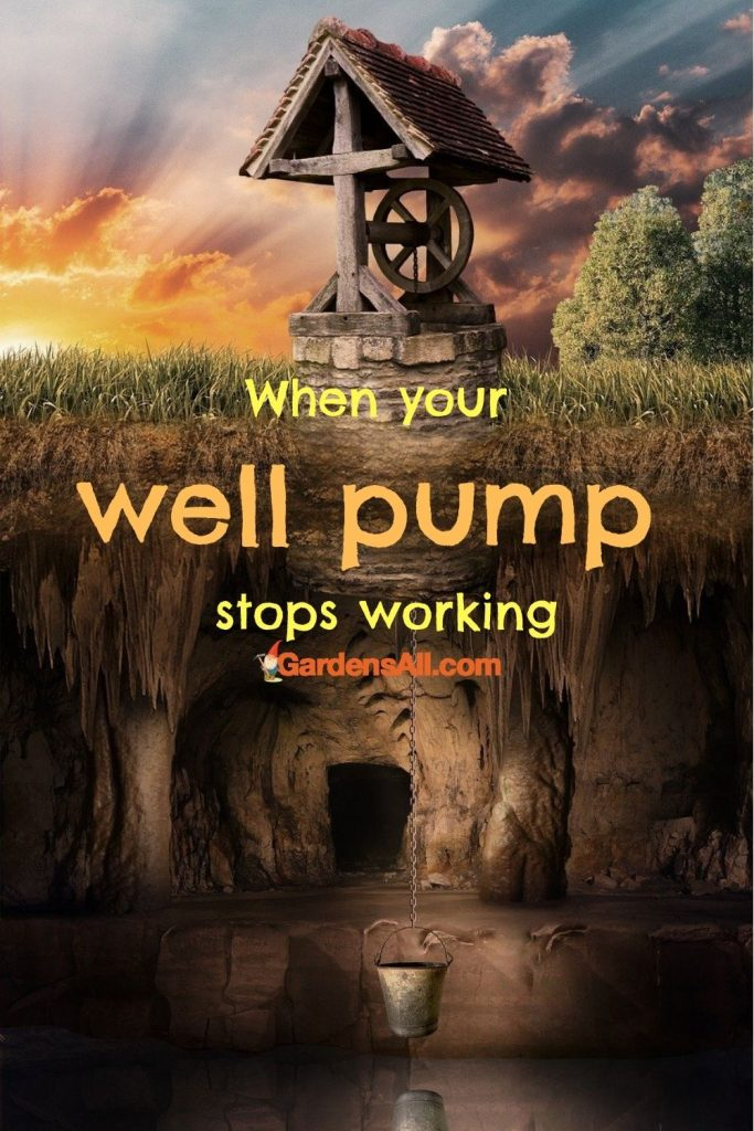 WHEN YOUR WELL WATER WON'T!It's no fun when your well pump stops working if that's your only water source. Water well house fantasy art image by Baggeb from Pixabay because it's a lot prettier than our actual plain well casing in this article! #WellWater #WellPump #WellHouse #WaterWellArt #WellFantasyArt #GardensAll